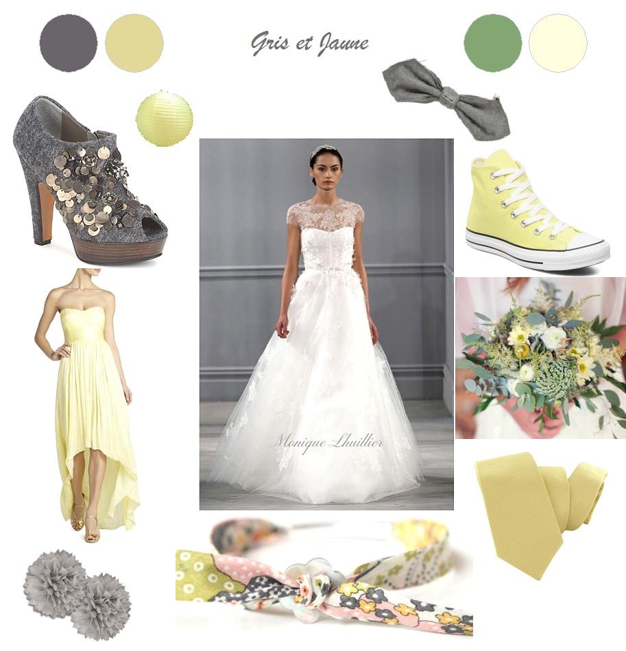 Décoration Mariage gris et jaune