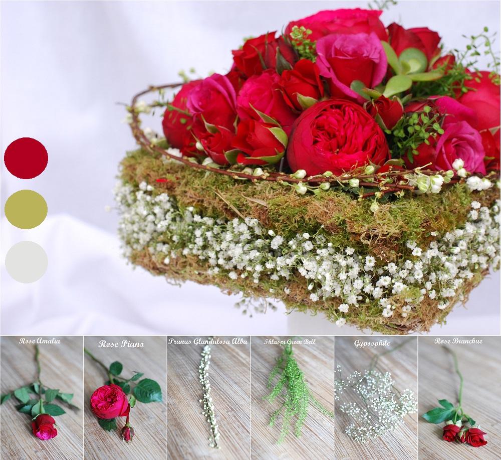 bouquet en forme de coeur saint valentin