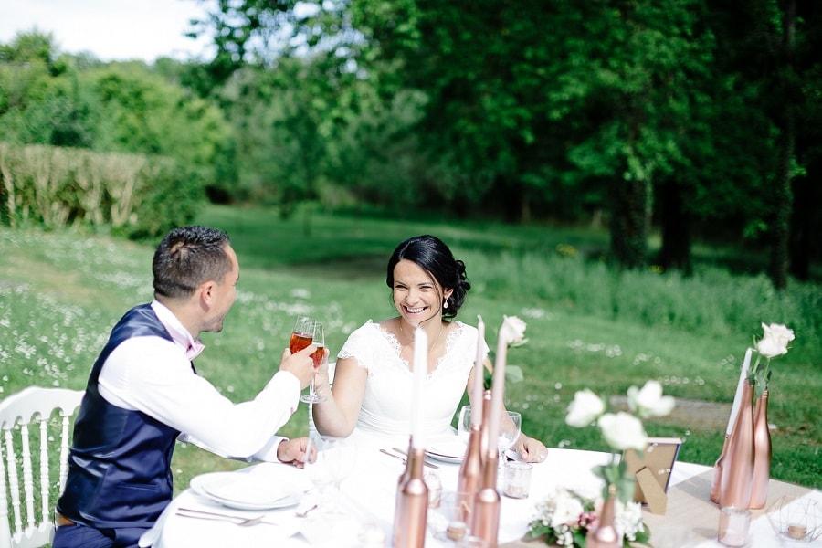 décoration mariage pastel cuivre