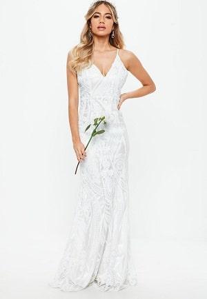 robe-de-marie-longue-blanche--sequins petit prix