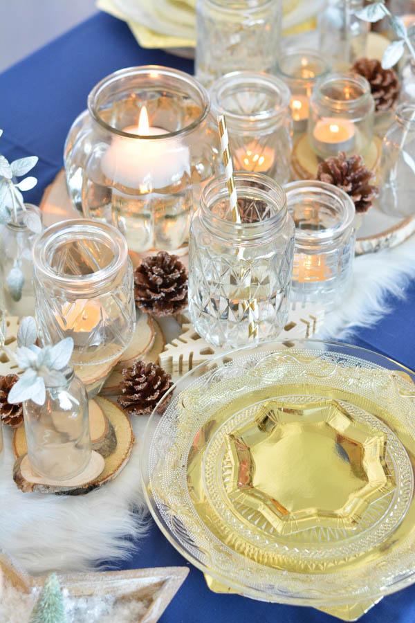 12 décoration table noel doré bleu