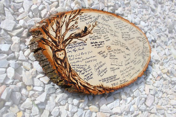 rondins de bois à signer mariage