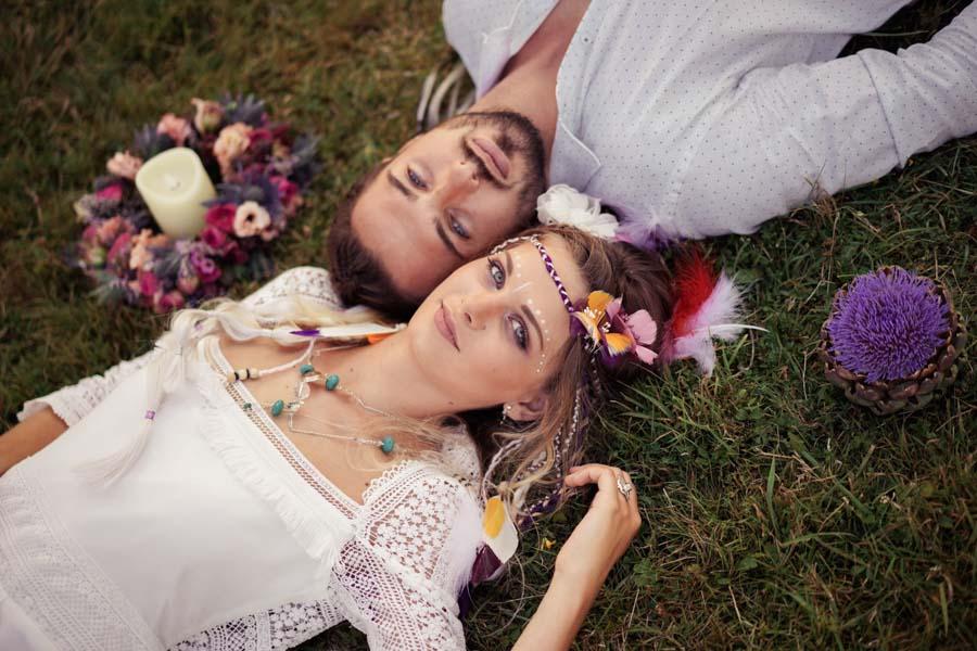 mise en beauté mariage hippie